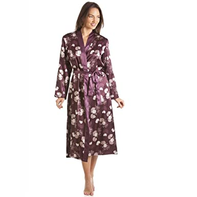 Camille Womens Ladies Dark Purpl Purple Floral Print Long Satin Wrap  Dressing Gown 12 14 aacfe74d8a0f