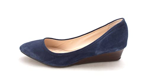 Cole Haan Womens Sarasam Closed Toe Wedge Pumps Blue Suede Size 6.0