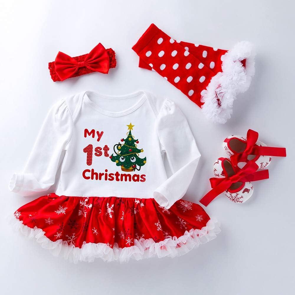 Newborn Baby Christmas Romper Headband Tutu Dress Shoes Set Xmas Clothes Outfits