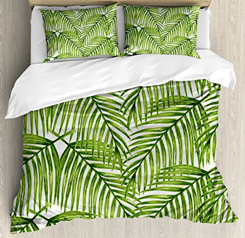 (Ambesonne Plant Duvet Cover Set Queen Size, Fascinating Leaves on Branches Exotic Setting Floral Arrangement Jungle Themed Greens, Decorative 3 Piece Bedding Set with 2 Pillow Shams, Fern Green)
