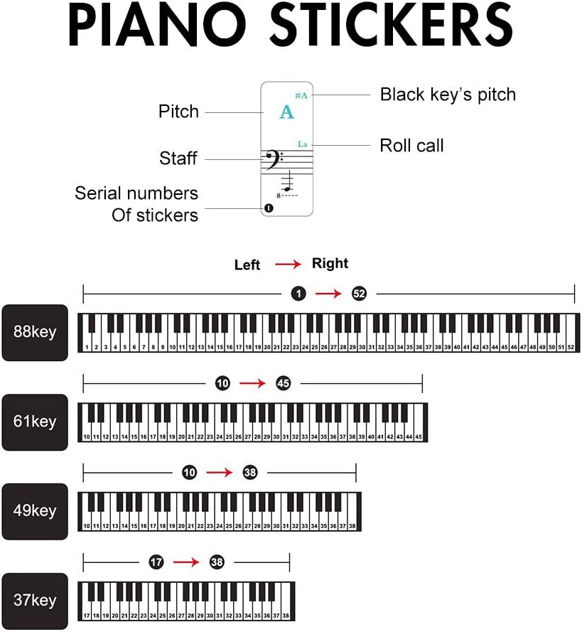 3 Pack Piano Keyboard Stickers for Beginners - for 88/61/49/37 Keyboards - Removable and Transparent