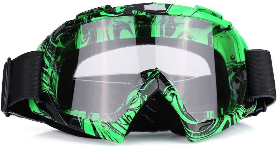 Gr/üner Rahmen + bunte Linse staubdichte Anti-Fog-Anti-Blend-Rennbrille Rennbrille Motorrad-Augenschutz Motocross-Brille