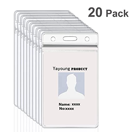id badge holder yayoung vertical name badge holder clear plastic id card holder waterproof identification - Plastic Id Card Holder
