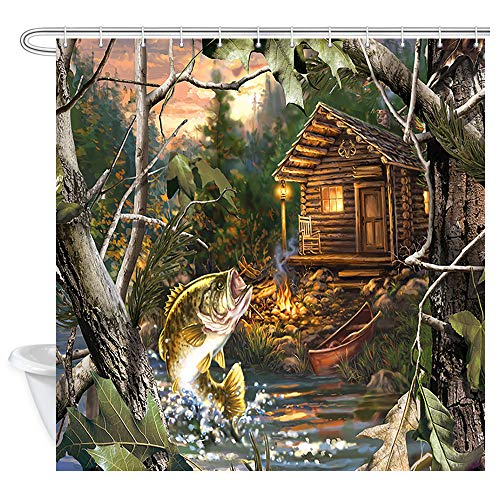 JAWO Wooden Cabin Farmhouse Shower Curtain, Bass Fish with Wooden Cabin Bath Curtain, Polyester Fabric Bathroom Curtains Waterproof Bathroom Bath Liner Set and 12 Pcs Hooks 69x70inches