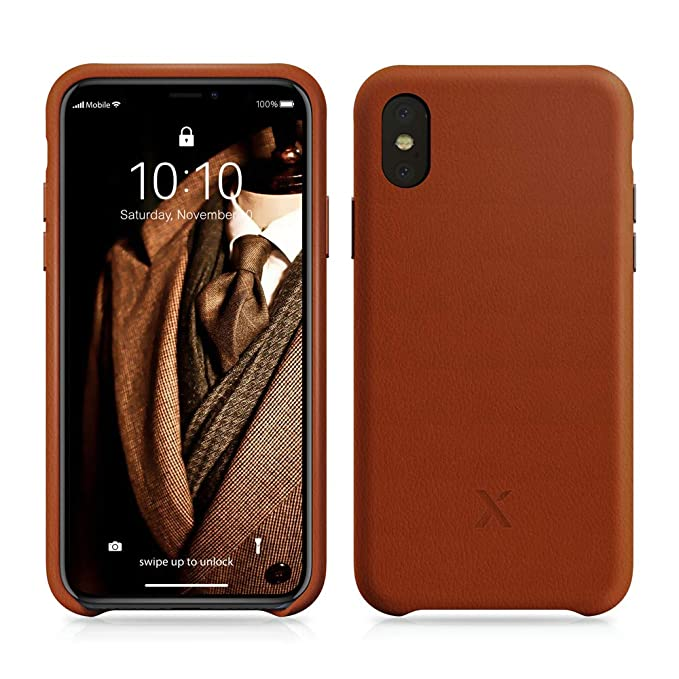 best website 9f4e9 33303 Xcentz iPhone X Leather Case, Genuine Leather Case for iPhone X, Slim  American Leather Case for iPhone X, Individual Metal Buttons, Microfiber  Lining ...