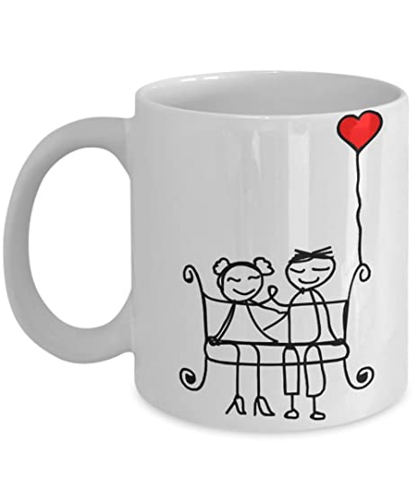couple gift mug couples matching tea cup set happy stickman couples on bench with