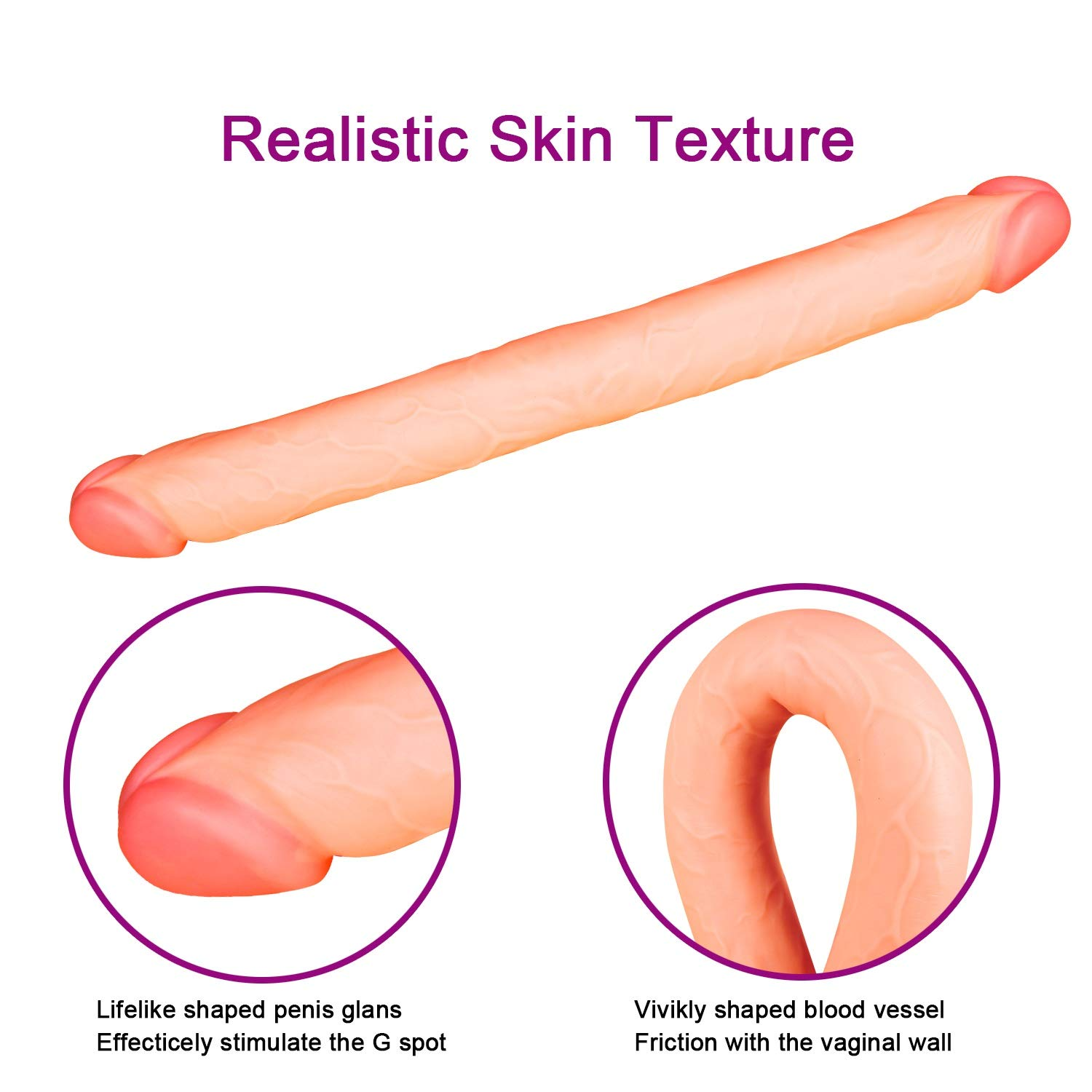 Lxyxyl (18.1'' Long,1.97'' Wide) Realistic Double Ended PVC Massager Wand for Advanced Users - Flesh
