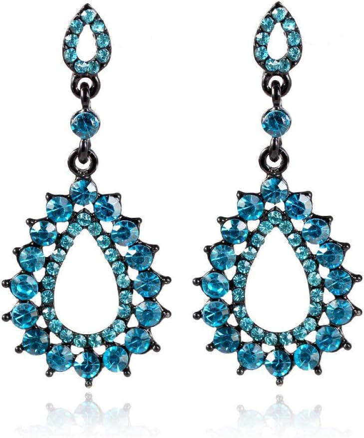 AK Joyas de la Novedad - Pendientes/Pendientes de Cristal de Moda Europea Y Americana/Colgante/Pendientes Largos Largos Huecos,Azul pavo real,Una talla