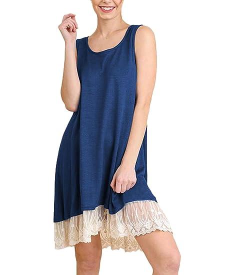 Vestidos Verano Mujer Cortas Elegante Sin Mangas Cuello Redondo Sin Tirantes Splice Encaje Color Sólido Vestido