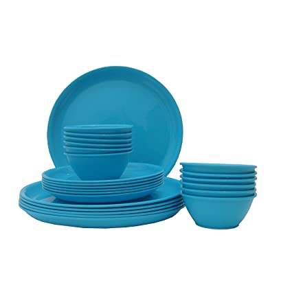 Incrizma Microwave Safe Polypropylene Dinner Set-24 Pieces (Round, Navy  Blue)