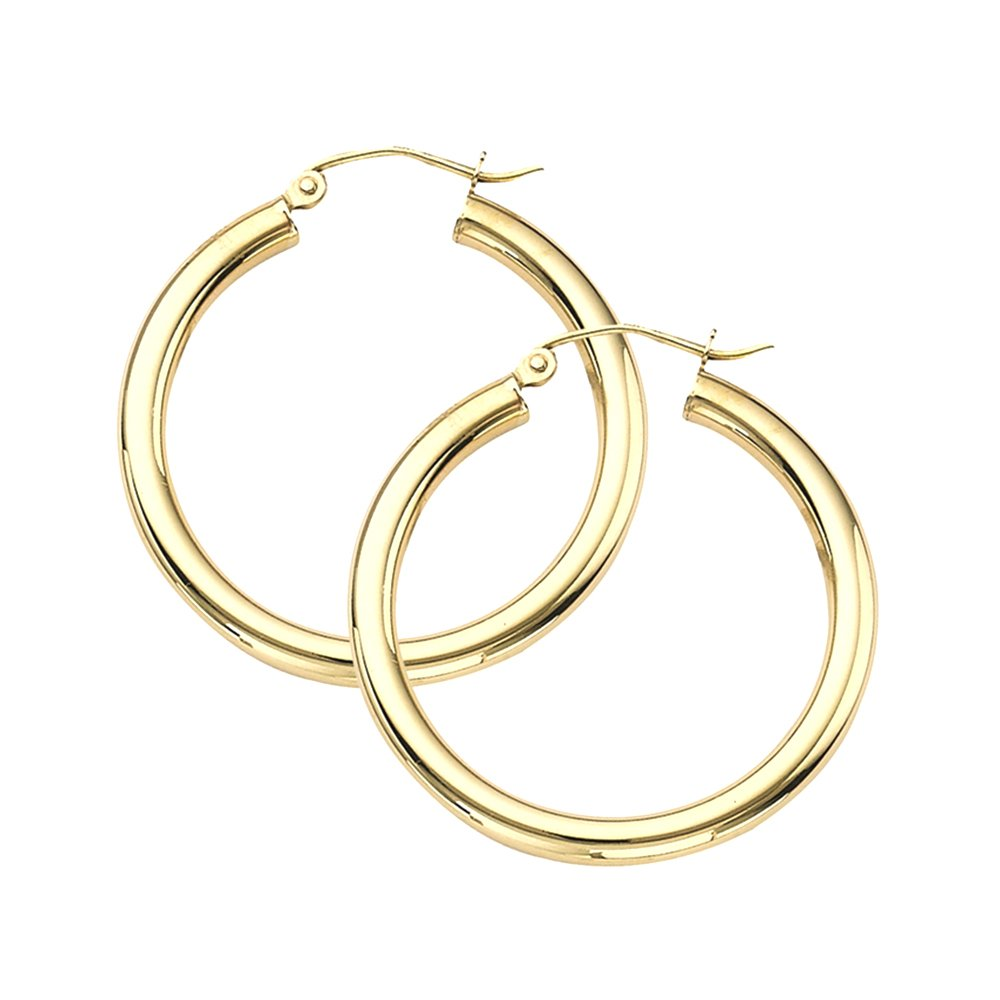 14K Gold Thick Tube Hoop Earrings w/ Click-Down Clasp, (3mm Tube) (30mm - Yellow Gold)