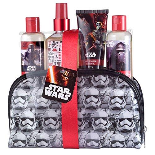 Star Wars Geschenk-Set Pflege-Set für Kinder (Eau de Cologne Spray 120ml, Duschgel 100ml, Shampoo 100ml, Haargel 60ml, Kosmetiktasche mit Stormtrooper-Motiv)