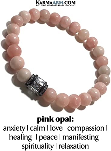Meditation Bracelet Stretch Chakra Zen Reiki Healing Energy Bead Jewelry Boho Yoga Bead Mala KarmaArm Passion Self-Care Wellness Wristband Pink Opal