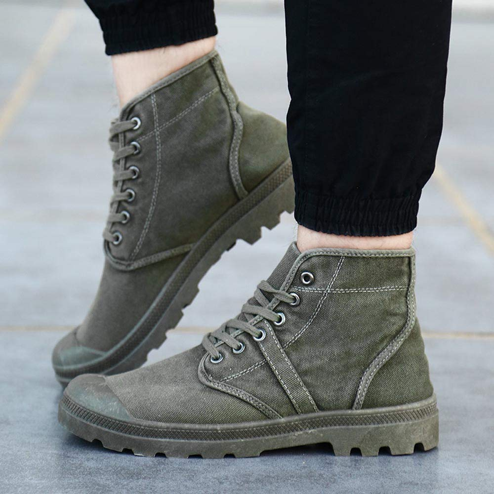 Colmkley Men Causal Comfortable Lace-Up Ankle Boots Casual High Top Canvas Shoes