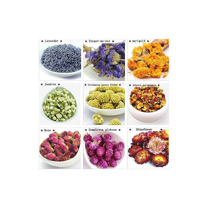 silk flower arrangements tooget fragrant dried flowers and herbs accessories decorations 9 bags set dry flowers for soap bath bombs making and dried flower crafts