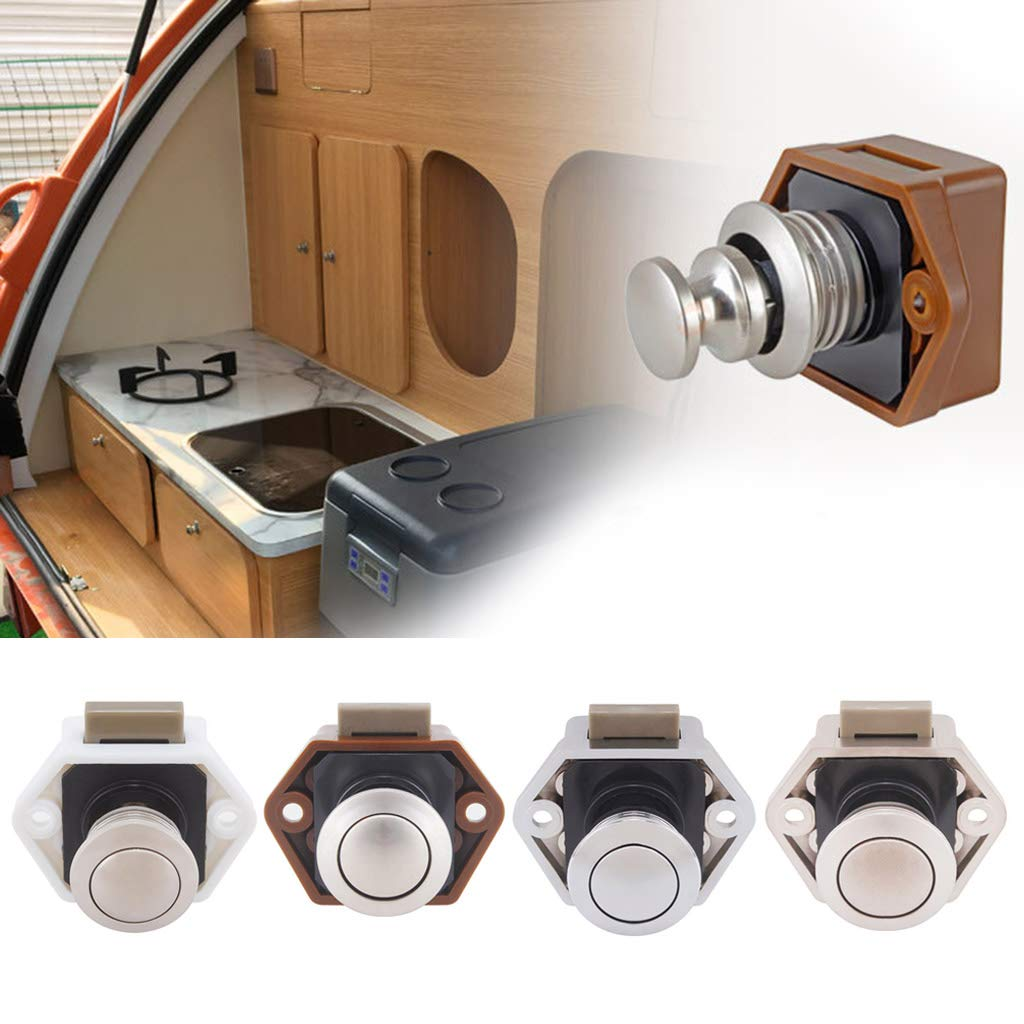 caravana Pomo para puerta de armario con bot/ón pulsador para caravana accesorios blanco botones cerraduras para muebles Yiwann barco autocaravana caj/ón autocaravana