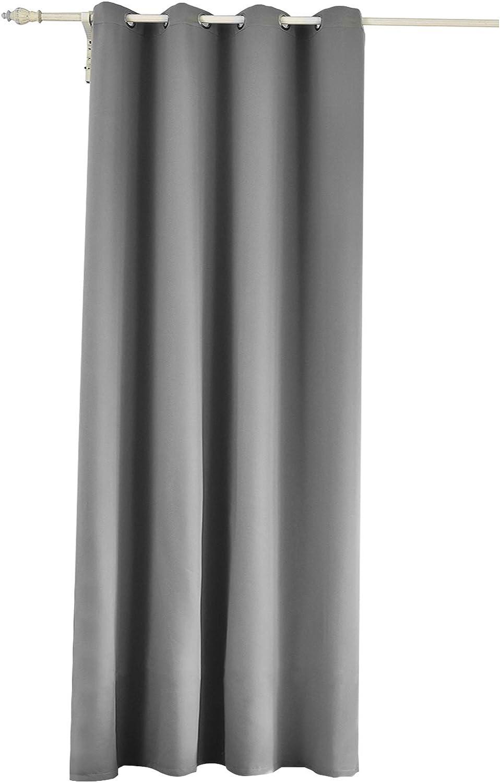 WOLTU Cortina Opaca con Ojales 1 Pieza Cortinas Térmicas Aislantes Moderna Decoración Ventanas para Dormotorio Habitacion Sala Salon 135x225 cm Gris Oscuro