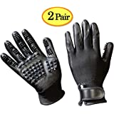 Cutena Pet Grooming Glove - Gentle Pet Hair Remover Glove - Deshedding Brush Glove - Massage Mitt Tool with Enhanced Five Finger Design - Perfect for Dogs, Cats & Horses with Long & Short Fur