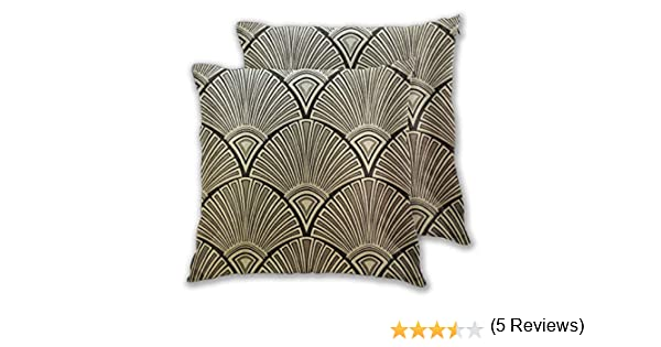 Cushion Covers Pack of 2 Cushion Covers Throw Pillow Cases Shells for Couch Sofa Home Decor Golden Art Deco Pattern ...