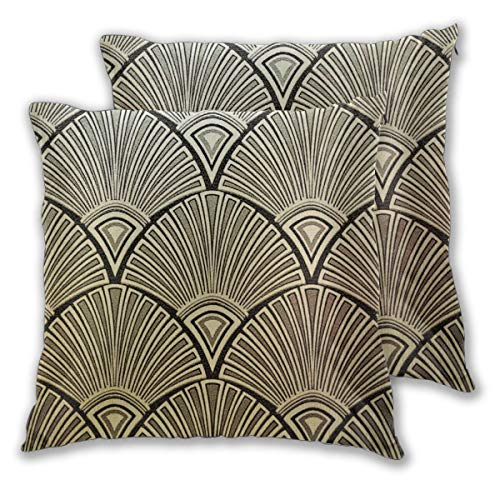Cushion Covers Pack of 2 Cushion Covers Throw Pillow Cases Shells for Couch Sofa Home Decor Golden Art Deco Pattern 45cm…