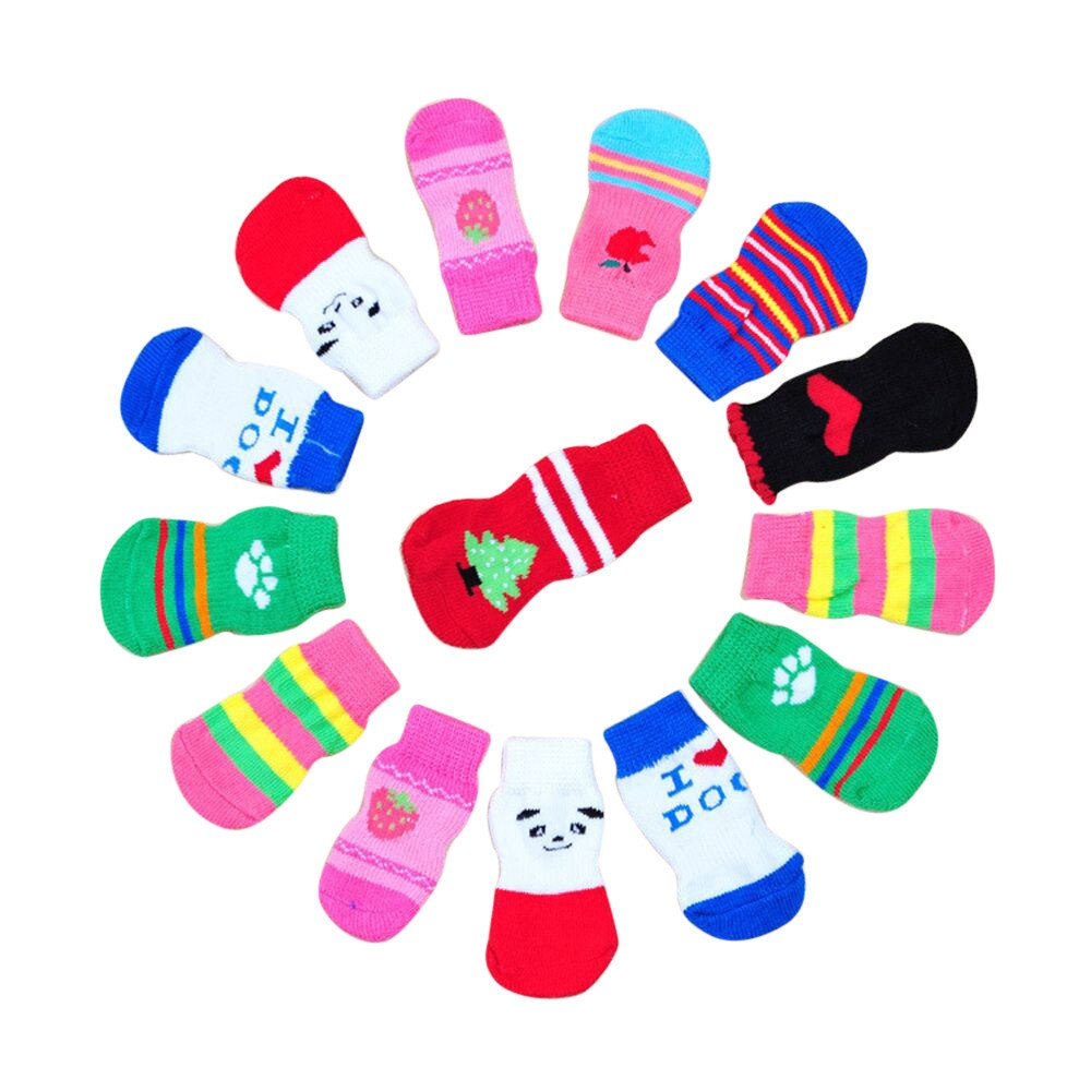 Hisoul Pet Socks, Pet Dogs Cute Fashion Anti Slip Skid Bottom Cotton Knits Socks (4 pcs) (Random, S-Wide:2.5cm)