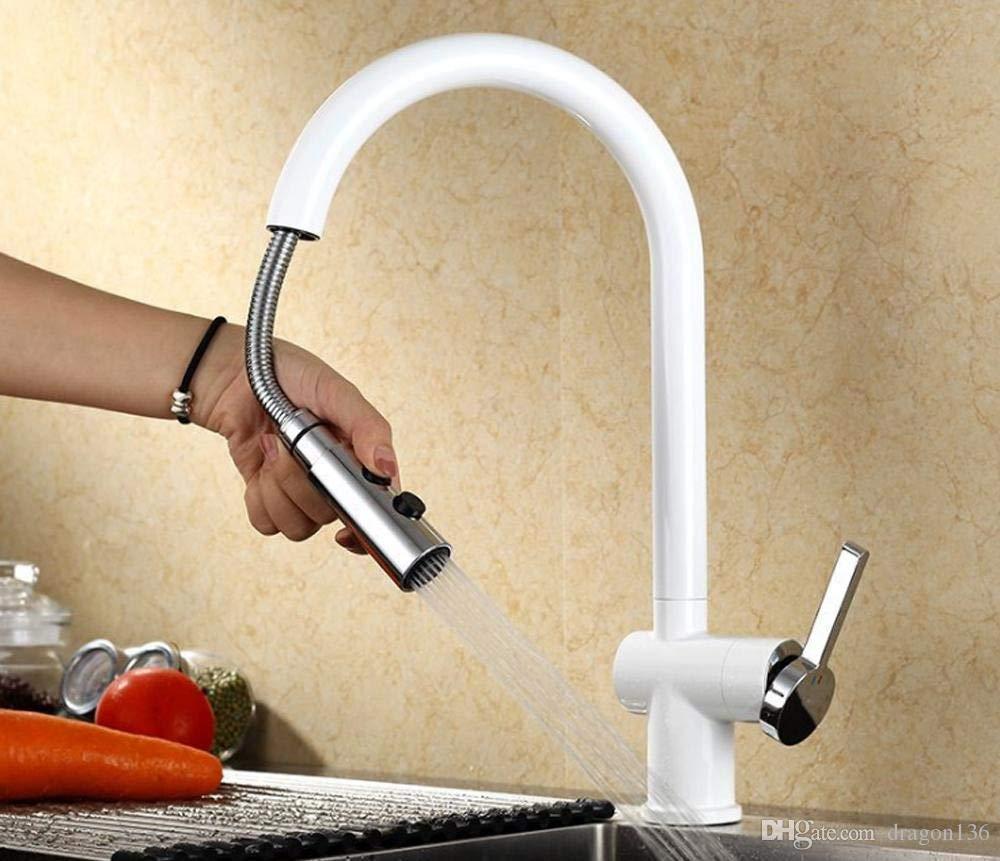 Eeayyygch Styling Messing Küchenarmaturen Cozinha Schwenkauslauf Spüle Wasserhahn ziehen (Farbe   -, Größe   -)