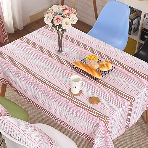 tablecloth 100% cotton tablecloth fashionable coffee table cloth pink grid-A 90x140cm(35x55inch) (9555 Oil)