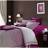 Geometric Line Design Duvet Quilt Cover Cool Modern Geo Print Cotton Bedding Set Striped Ombre Multi