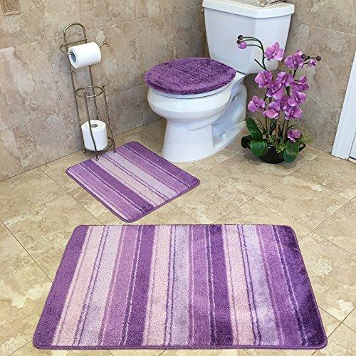 3-PIECE BATHROOM RUG SETS   Anti-Bacterial Rubber Back Non-Skid/Slip Purple & Pink STRIPED BATH RUG & MAT SET 21