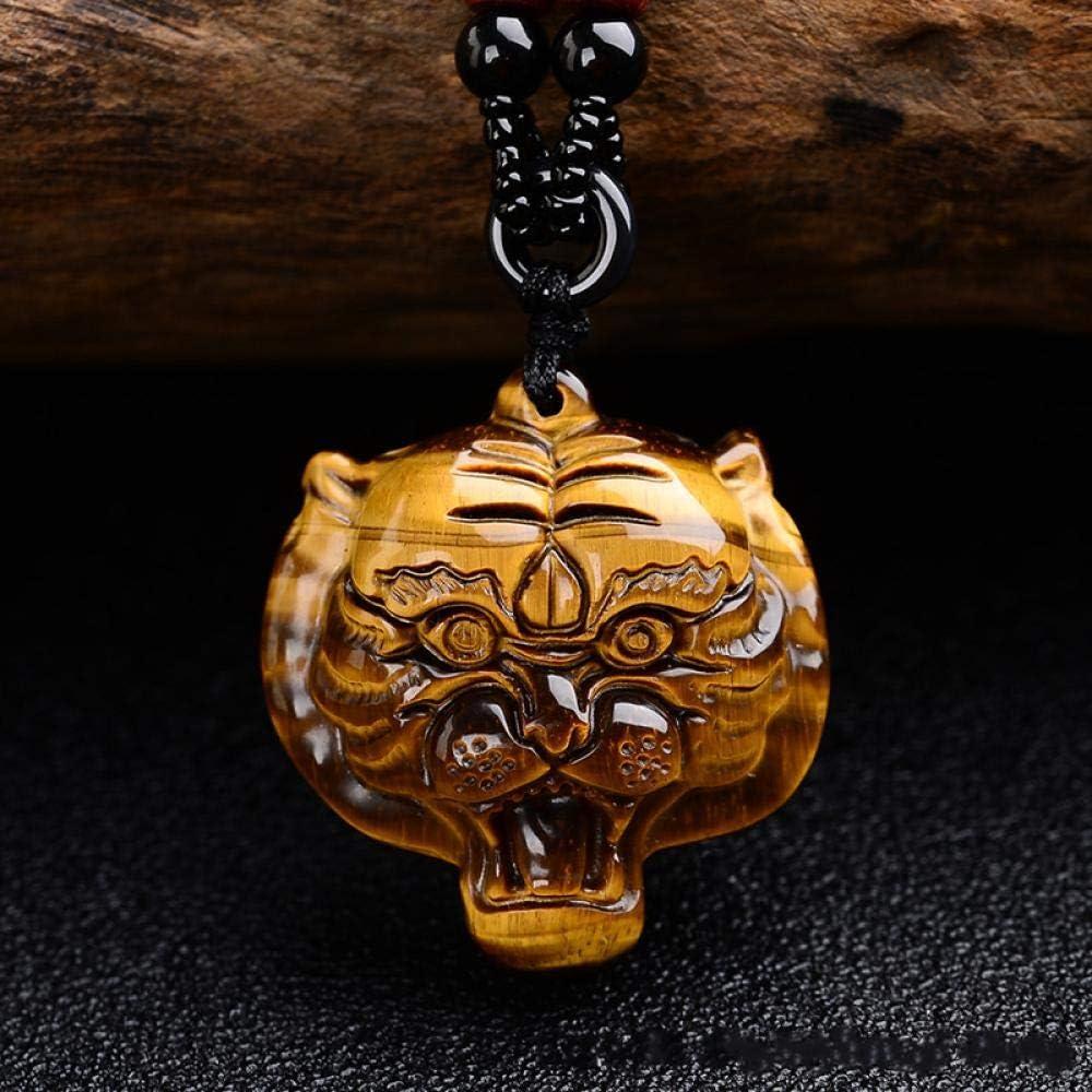 VFJLR Colgante Piedra de Ojo de Tigre Amarillo Cabeza de Tigre Collar de Jade Colgante Cabeza de Tigre Tallada a Mano Piedra Preciosa Amarilla Amuleto de la Suerte para Hombres y Mujeres