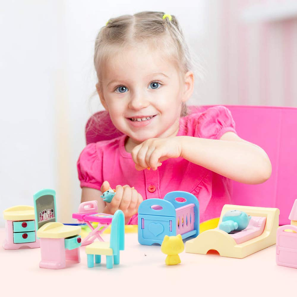 50 Pack Kids Little Dollhouse Furniture Toys House Big Dreams for Baby Children Girls Boys Age 2-3