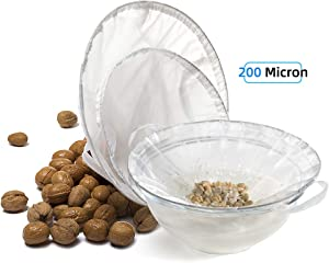 TENRAI Nut Milk Bag, Multiple Usage Reusable Food Strainer Almond Milk Bags - Cold Brew Coffee/Yogurt Filter/Ring (3 Sizes 200 Micron)