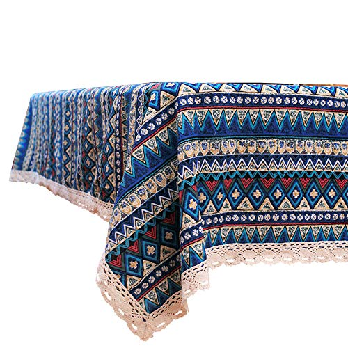 (Elome Vintage Square Cotton Linen Lace Bohemian Style Geometric Design Tablecloth, Washable Tablecloth Dinner Picnic Table Cloth Home Decorative Cover Assorted Size (36 Inch x 55)