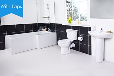 Aquariss L Shape Shower Bath Right Hand Full Bathroom Suite Toilet WC, Sink  Basin +