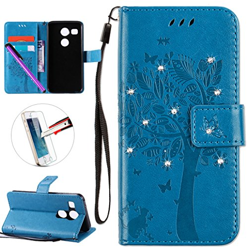 LG Nexus 5X Case, ISADENSER PU Leather Wallet Book Shell Luxury 3D Handmade Shine Diamond Embossing Tree Cat Butterfly Pattern Flip Protective Cover Case For LG Google Nexus 5X- Blue Wish Tree (Best Lg Nexus 5x Case)