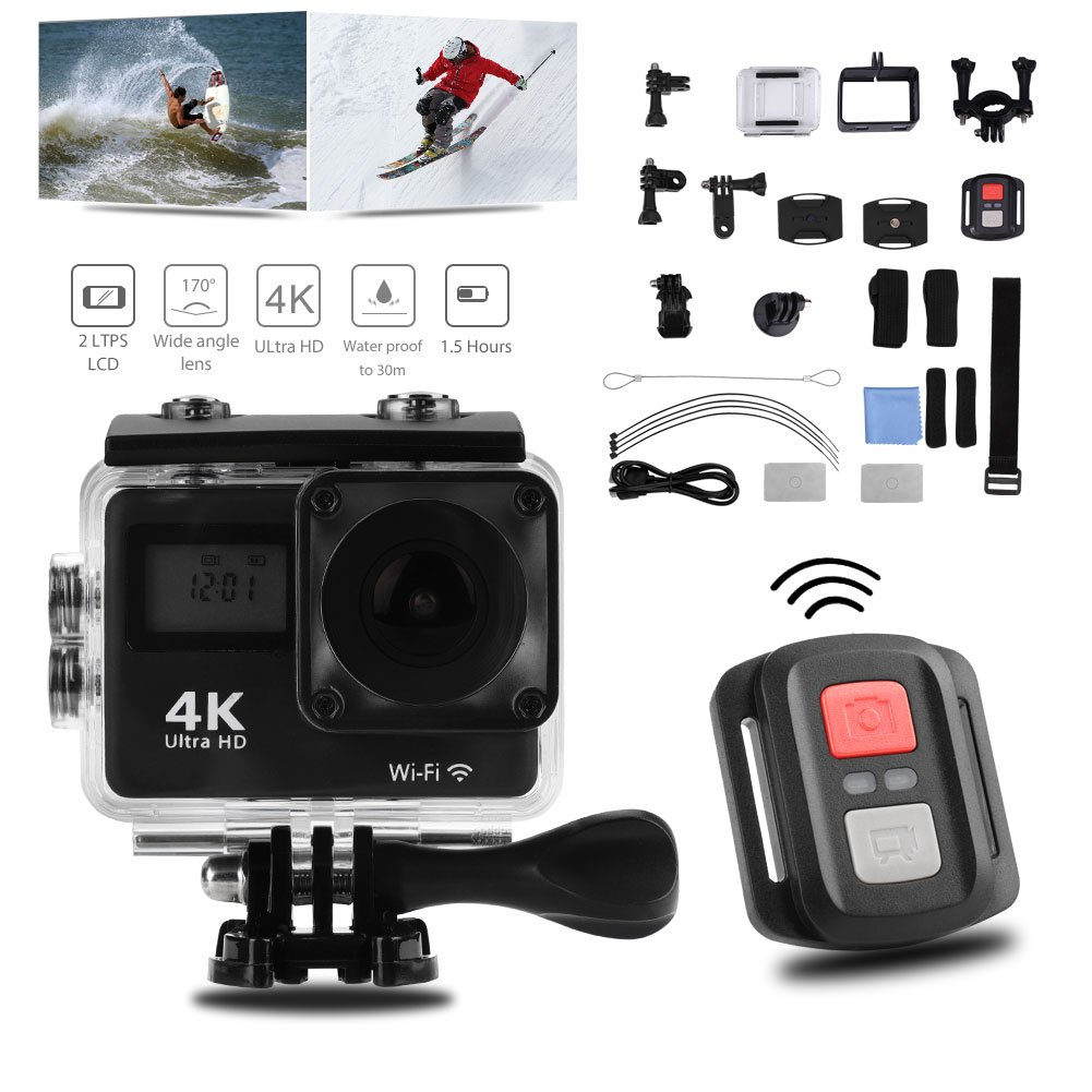 Acouto Wifi Action Camera 4K Ultru HD 2 Inch Touch Screen Camera 12MP 170 Degree Wide Angle View Sport Cam Underwarter Camcorder with Waterproof Housin Case,Remote Controller Accessories Kit by Acouto (Image #1)