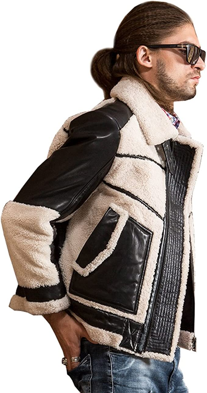 SANIWOMU Promote Men Fashion Sheepskin Cow Skin Lamb Fur Short Jackets