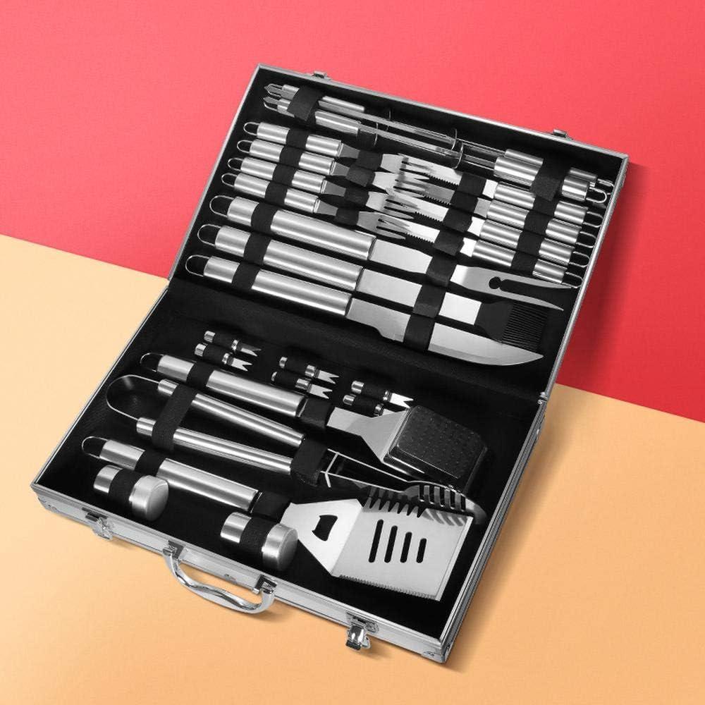Kit Complet d'Ustensiles de Barbecue,Ustensiles Barbecue,Haute Qualité avec des Matériaux Robustes et Durables,Outils de Barbecue d'extérieur faciles à Transporter A A