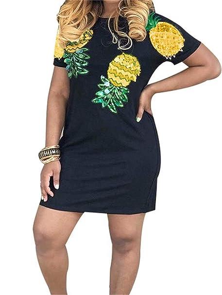 Vaceky Womens Cute Mini Dress Sequin Crew Neck Short Sleeve ...