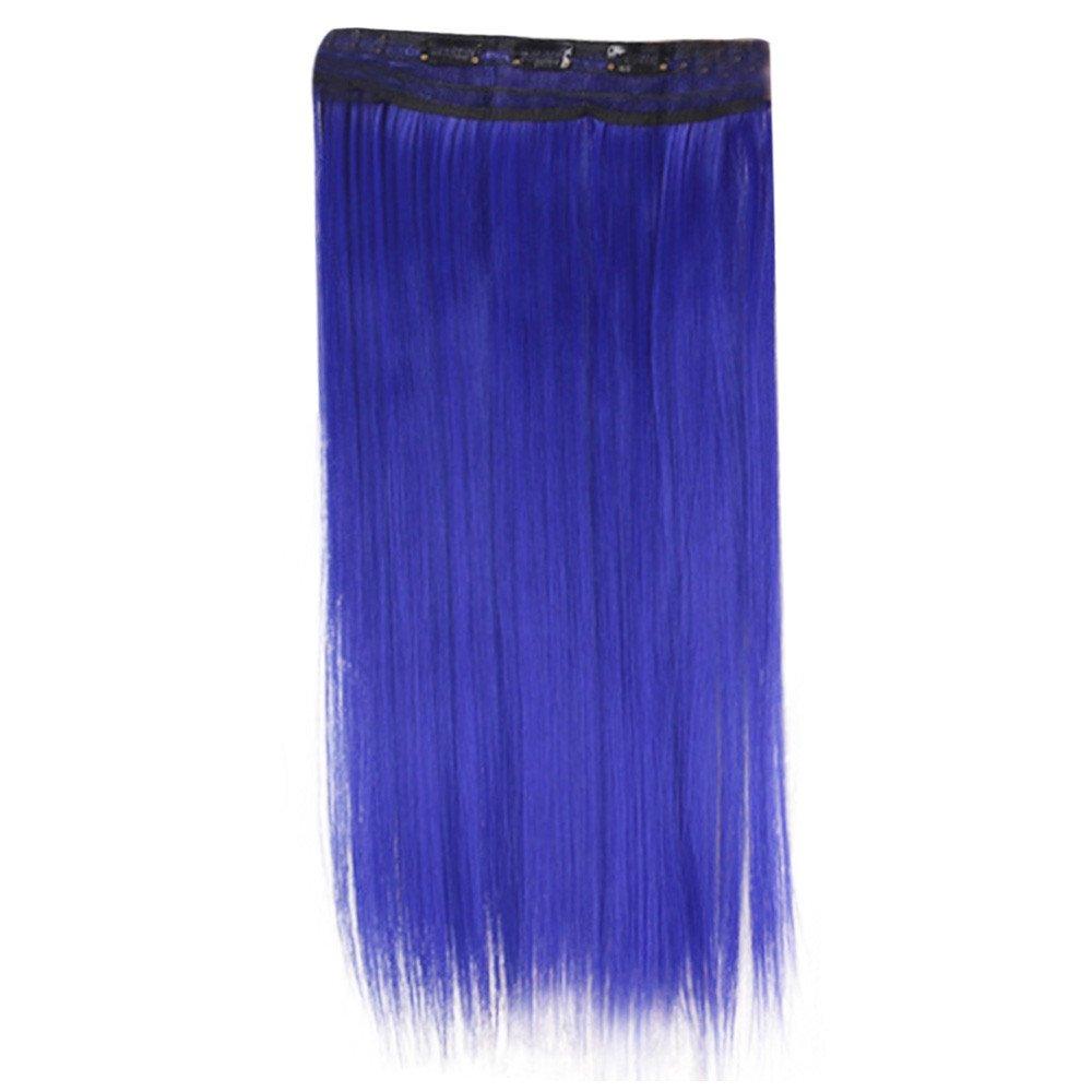 LEERYAAY Natural Beauty Cos Play TypeWigs Long Straight Hair Blue
