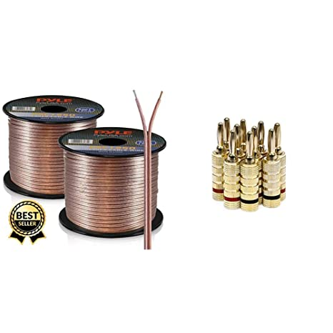 50ft 12 gauge speaker wire copper coated cable in spool for connecting audio stereo to amplifier, surround sound system \u0026 monoprice gold plated speaker cable management hiding surround sound wires tips