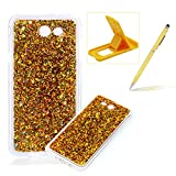 Rubber TPU Case For Samsung Galaxy J7 2017,Herzzer Slim Lightweight Color Changing Glittering Luxury Unique [Red Sequins] Bling Shiny Sparkle Soft Silicone Gel Clear Bumper Frame Cover for Samsung Galaxy J7 2017