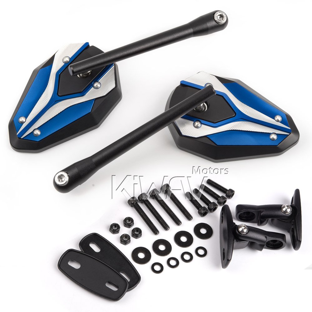 Magazi Viper II motorcycle mirrors blue fairing mount w/ matte black adapter for sports bike adjustable e by Magazi (Image #8)