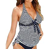 Meedot Women Tankini Swimwear Pregnancy Swimsuit - Maternity Swimwear 2 Piece Padded Tankini V Neck Swimming Shorts + Tops Stripe S - 5XL