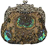 Beaded Vintage Evening Bag with Antique Frame – Olive Taupe Satin, Bags Central