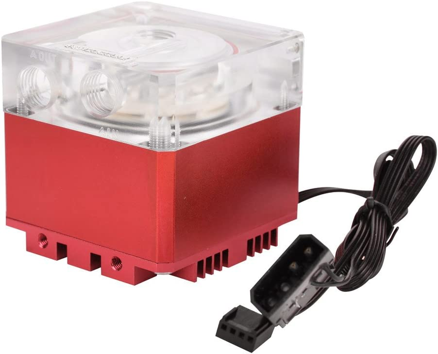 Aramox Low Noise CPU Water Cooling Pump 3000RPM Fast Heat Dissipation Computer Pump Tank for Desktop Computer Cool System (Red)
