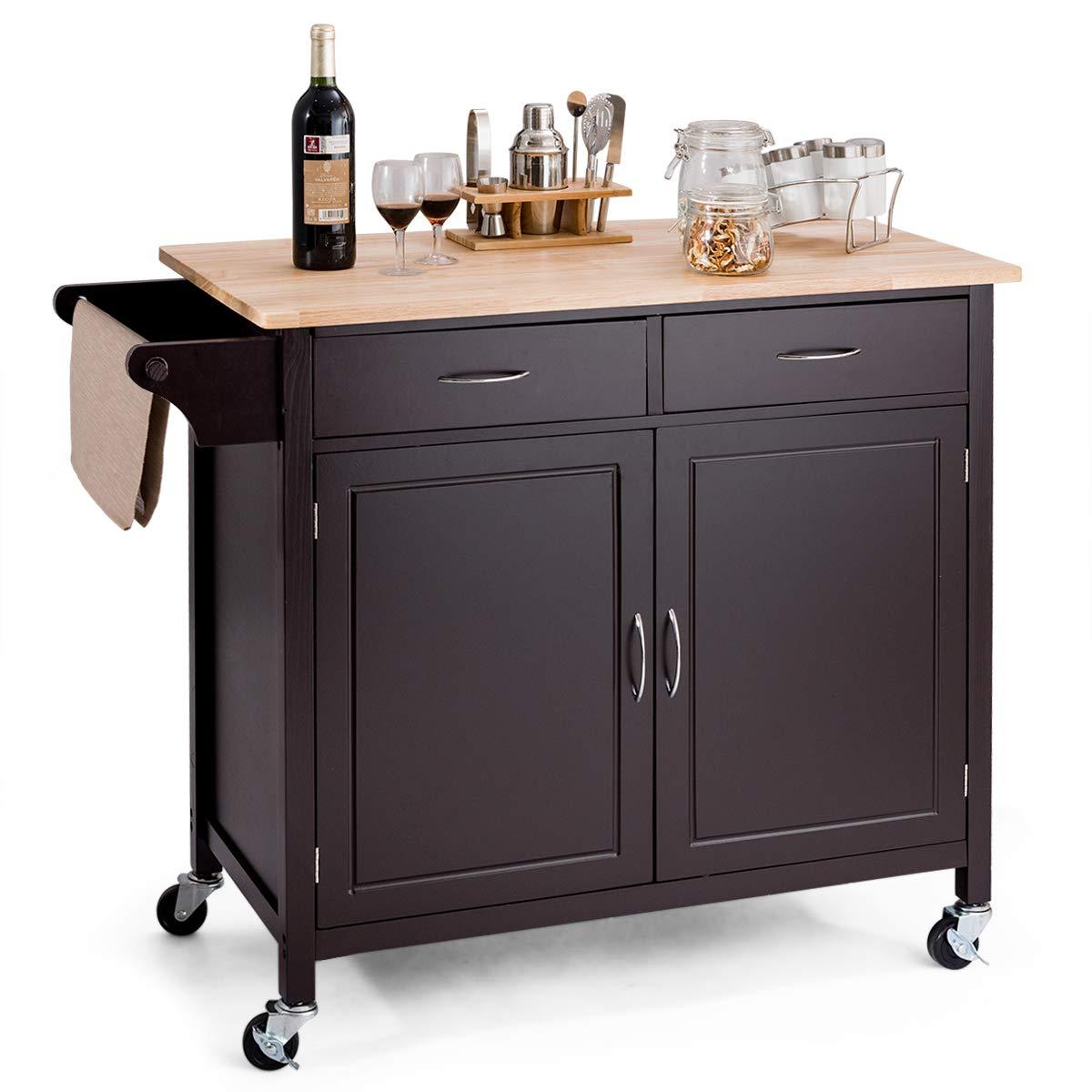 Giantex Portable Kitchen Rolling Cart Wood Top Island Serving Utility W/Cabinet &Drawer (Dark Brown)