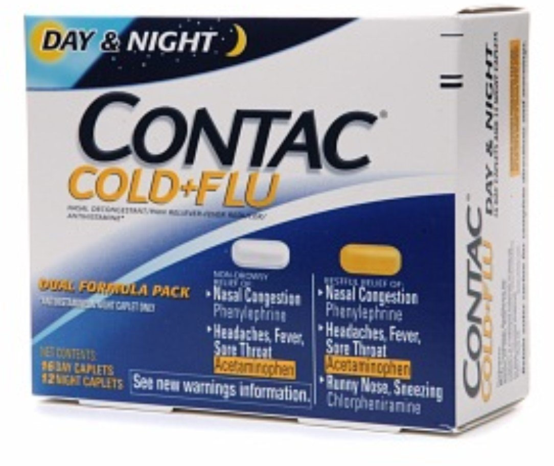 Contac Cold + Flu Dual Formula Pack 16 Day Caplets/12 Night Caplets 28 ea (Pack of 5)