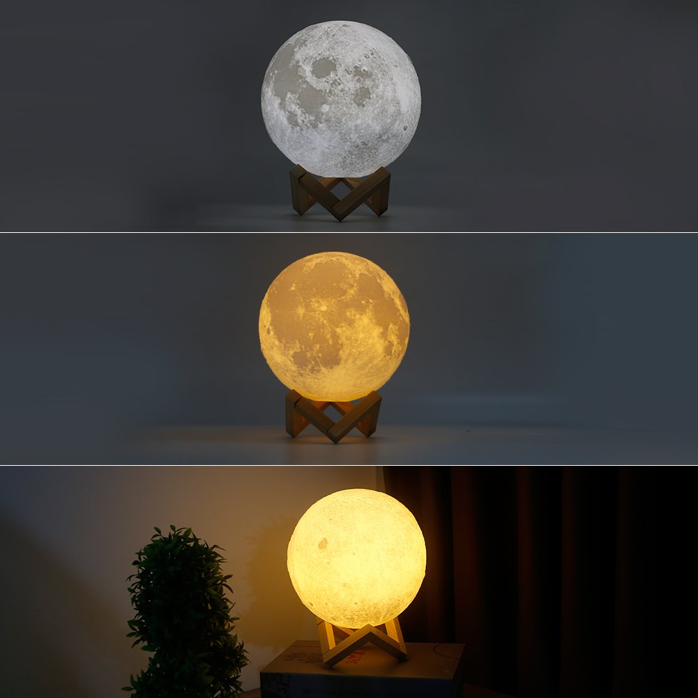 Ocamo Desk Lamp Simulation 3D Moon Night Light Earth Light, 3 LEDs USB Rechargeable Moonlight with Wood Base 10cm by Ocamo (Image #4)