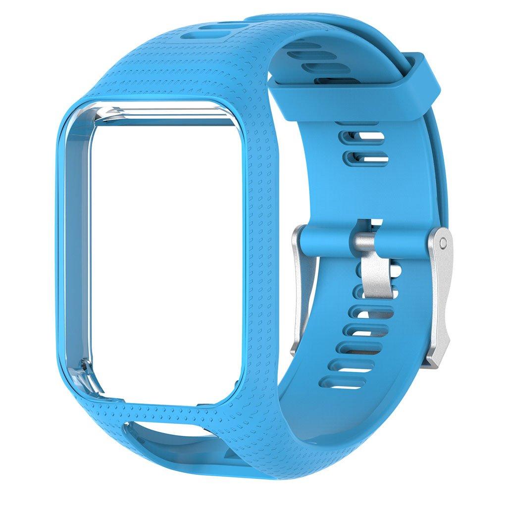 Betterm時計バンドシリコン交換リストバンドストラップfor TomTom Runner 2 3 Spark 3 GPS Watch ライトブルー ライトブルー B075B3PRRN